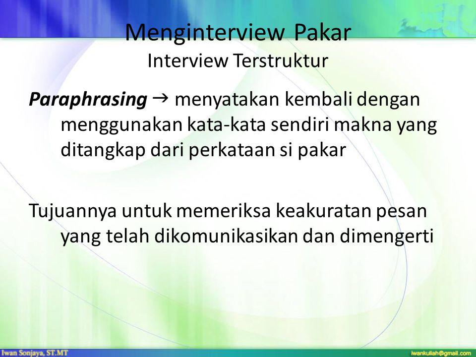 Menginterview Pakar Interview Terstruktur Paraphrasing  menyatakan kembali dengan menggunakan kata-kata sendiri makna yang ditangkap dari perkataan si pakar Tujuannya untuk memeriksa keakuratan pesan yang telah dikomunikasikan dan dimengerti