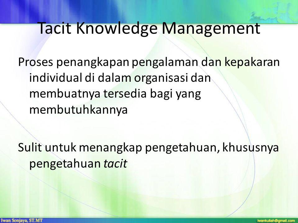Tacit Knowledge Management Proses penangkapan pengalaman dan kepakaran individual di dalam organisasi dan membuatnya tersedia bagi yang membutuhkannya Sulit untuk menangkap pengetahuan, khususnya pengetahuan tacit