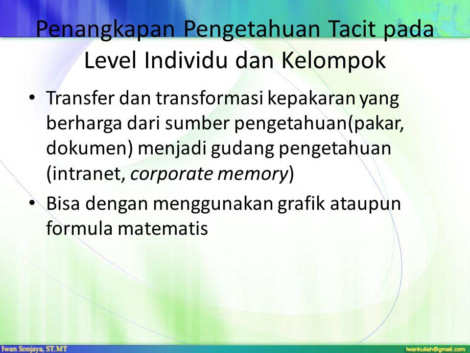 Taksonomi Pengetahuan Knowledge Taxonomies Konsep  dasar pembentuk pengetahuan dan kepakaran Taksonomi  sistem klasifikasi dasar yang memungkinkan untuk menjelaskan konsep dan ketergantungannya secara hirarki Taksonomi pengetahuan memungkinkan pengetahuan untuk direpresentasikan secara terorganisir dalam bentuk grafis