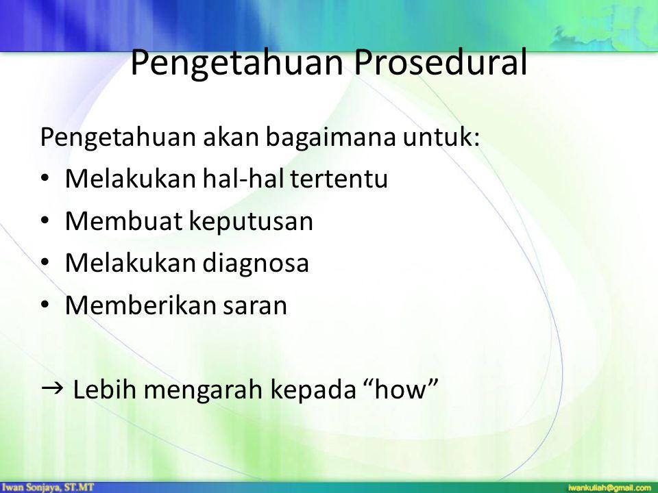 Pengetahuan Prosedural Pengetahuan akan bagaimana untuk: Melakukan hal-hal tertentu Membuat keputusan Melakukan diagnosa Memberikan saran  Lebih mengarah kepada how