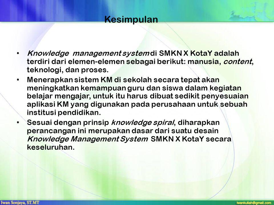 Kesimpulan Knowledge management system di SMKN X KotaY adalah terdiri dari elemen-elemen sebagai berikut: manusia, content, teknologi, dan proses. Men
