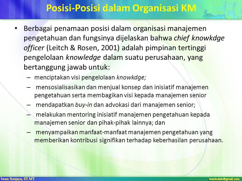 Posisi-Posisi dalam Organisasi KM Berbagai penamaan posisi dalam organisasi manajemen pengetahuan dan fungsinya dijelaskan bahwa chief knowkdge office
