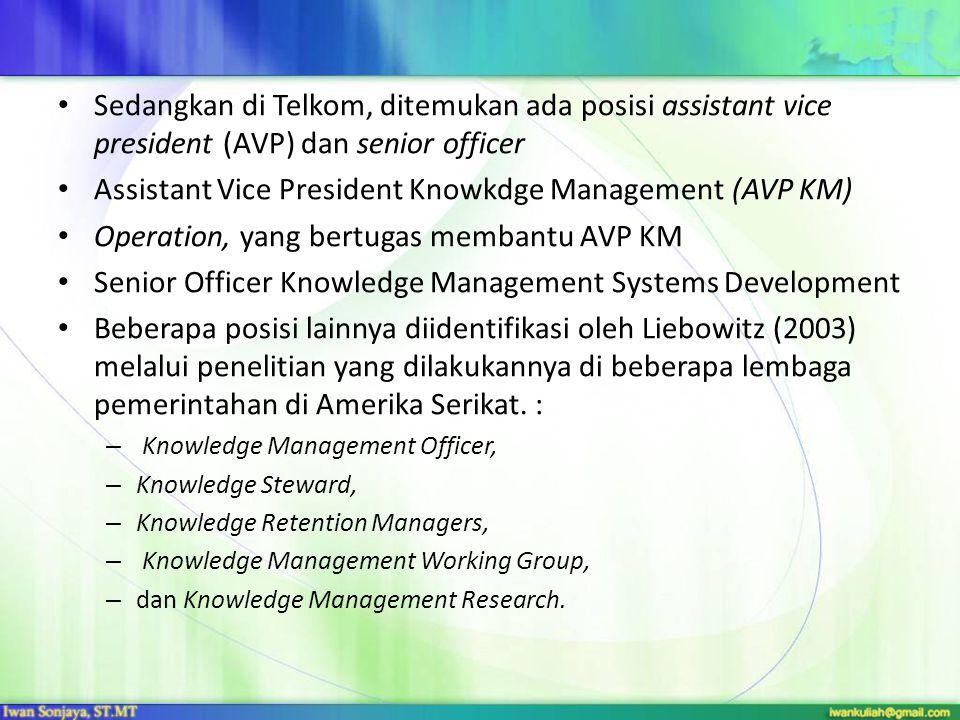 Sedangkan di Telkom, ditemukan ada posisi assistant vice president (AVP) dan senior officer Assistant Vice President Knowkdge Management (AVP KM) Oper
