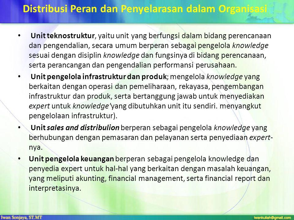 Distribusi Peran dan Penyelarasan dalam Organisasi Unit teknostruktur, yaitu unit yang berfungsi dalam bidang perencanaan dan pengendalian, secara umu