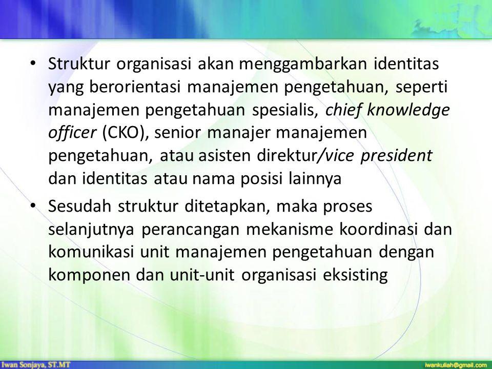 Struktur organisasi akan menggambarkan identitas yang berorientasi manajemen pengetahuan, seperti manajemen pengetahuan spesialis, chief knowledge off