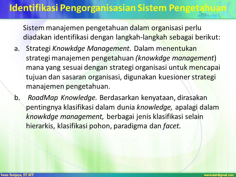 Identifikasi Pengorganisasian Sistem Pengetahuan Sistem manajemen pengetahuan dalam organisasi perlu diadakan identifikasi dengan langkah-langkah seba