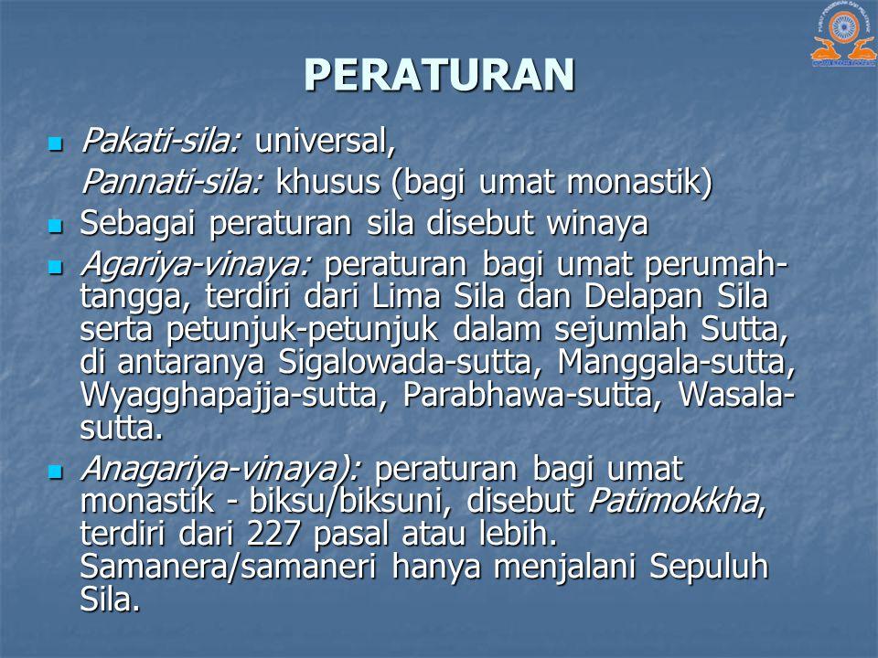 PERATURAN Pakati-sila: universal, Pakati-sila: universal, Pannati-sila: khusus (bagi umat monastik) Sebagai peraturan sila disebut winaya Sebagai pera