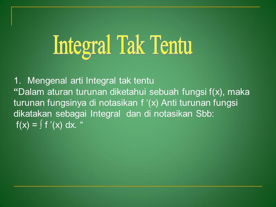 1.Mengenal arti Integral tak tentu 2. Menurunkan Integral tak tentu dengan konsep turunan 3. Menentukan integral tak tentu fungsi aljabar
