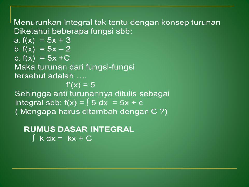 """1.Mengenal arti Integral tak tentu """"Dalam aturan turunan diketahui sebuah fungsi f(x), maka turunan fungsinya di notasikan f '(x) Anti turunan fungsi"""