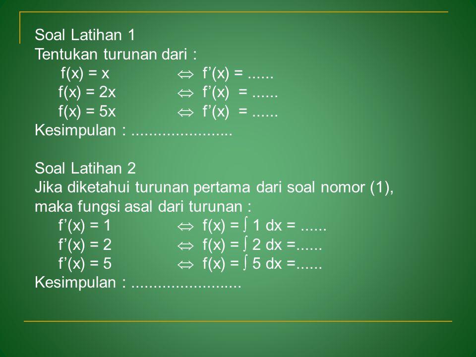 Diketahui beberapa fungsi sbb: a.f(x) = x 3 + 3 b.f(x) = x 3 – 10 c.f(x) = x 3 + C Maka turunan fungsi-fungsi di atas adalah : f' (x) = 3x 2 Anti turu