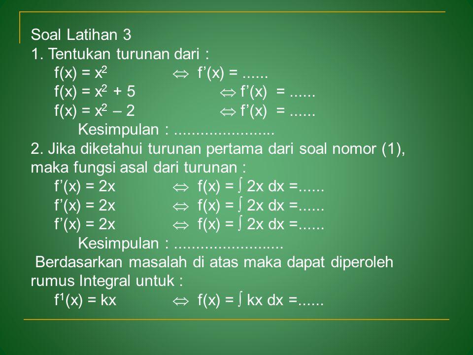 Soal Latihan 1 Tentukan turunan dari : f(x) = x  f'(x) =...... f(x) = 2x  f'(x) =...... f(x) = 5x  f'(x) =...... Kesimpulan :......................