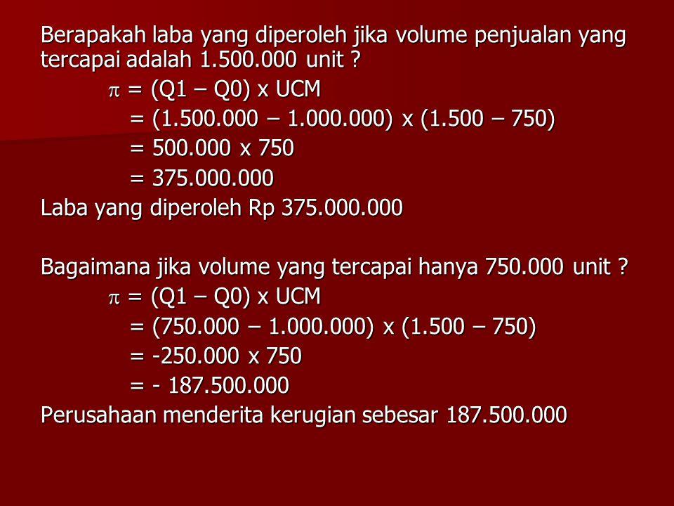 Berapakah laba yang diperoleh jika volume penjualan yang tercapai adalah 1.500.000 unit ?  = (Q1 – Q0) x UCM = (1.500.000 – 1.000.000) x (1.500 – 750