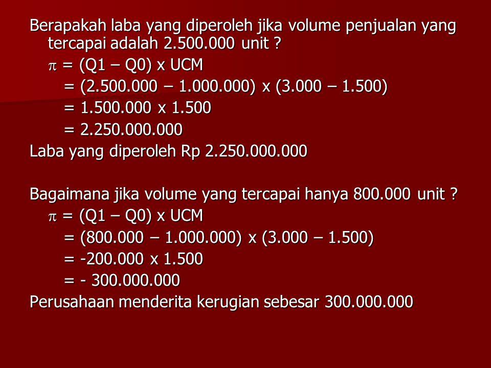 Berapakah laba yang diperoleh jika volume penjualan yang tercapai adalah 2.500.000 unit ?  = (Q1 – Q0) x UCM = (2.500.000 – 1.000.000) x (3.000 – 1.5