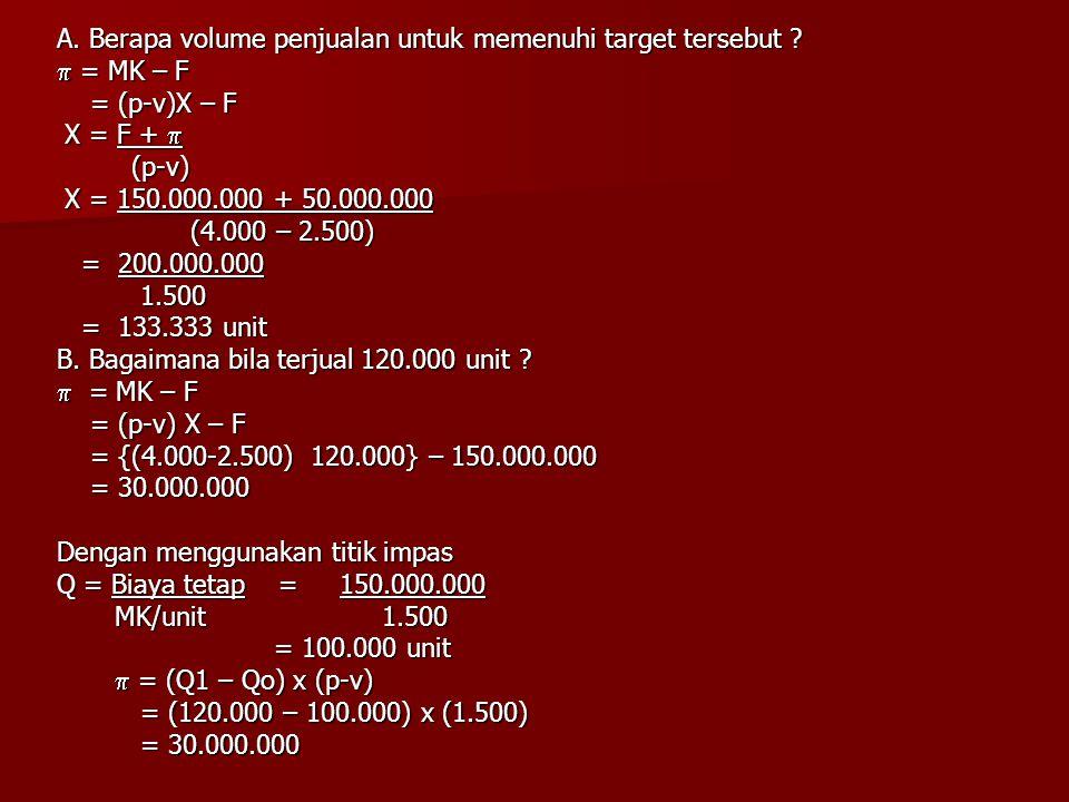 A. Berapa volume penjualan untuk memenuhi target tersebut ?  = MK – F = (p-v)X – F = (p-v)X – F X = F +  X = F +  (p-v) (p-v) X = 150.000.000 + 50.