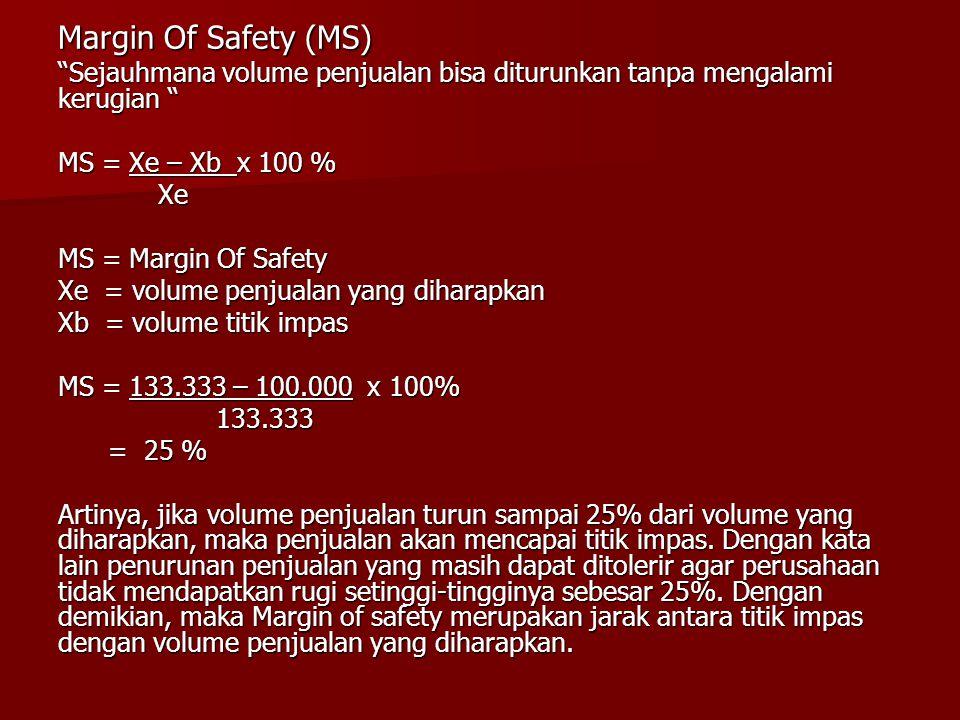 Margin Of Safety (MS) Sejauhmana volume penjualan bisa diturunkan tanpa mengalami kerugian MS = Xe – Xb x 100 % Xe Xe MS = Margin Of Safety Xe = volume penjualan yang diharapkan Xb = volume titik impas MS = 133.333 – 100.000 x 100% 133.333 133.333 = 25 % = 25 % Artinya, jika volume penjualan turun sampai 25% dari volume yang diharapkan, maka penjualan akan mencapai titik impas.