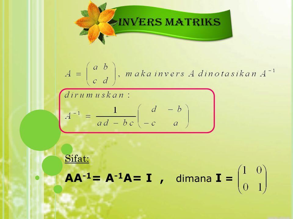 Sifat: AA -1 = A -1 A= I, dimana I =