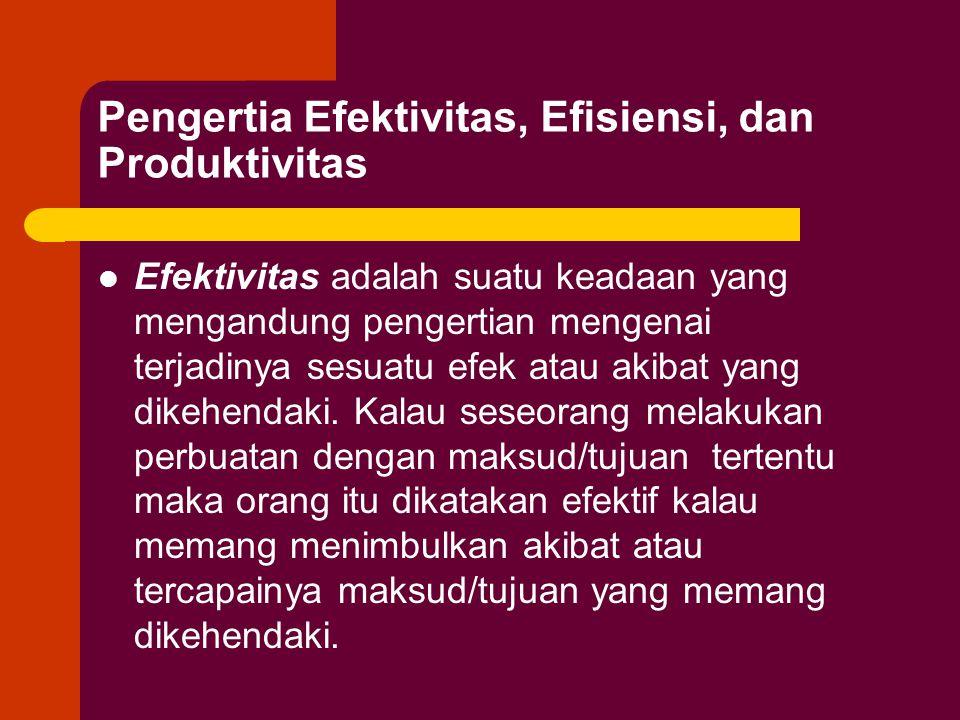 Pengertia Efektivitas, Efisiensi, dan Produktivitas Efektivitas adalah suatu keadaan yang mengandung pengertian mengenai terjadinya sesuatu efek atau akibat yang dikehendaki.