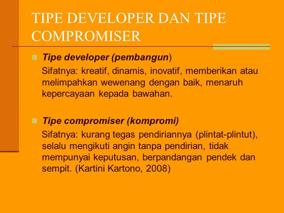 TIPE DEVELOPER DAN TIPE COMPROMISER Tipe developer (pembangun) Sifatnya: kreatif, dinamis, inovatif, memberikan atau melimpahkan wewenang dengan baik, menaruh kepercayaan kepada bawahan.