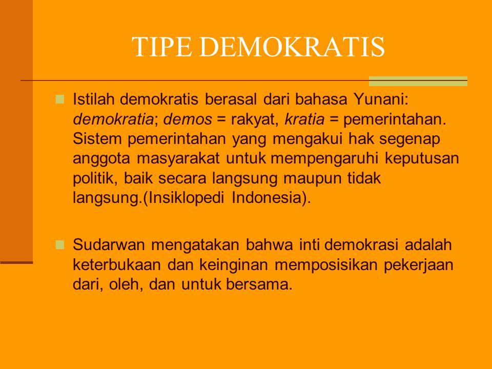 TIPE DEMOKRATIS Istilah demokratis berasal dari bahasa Yunani: demokratia; demos = rakyat, kratia = pemerintahan. Sistem pemerintahan yang mengakui ha