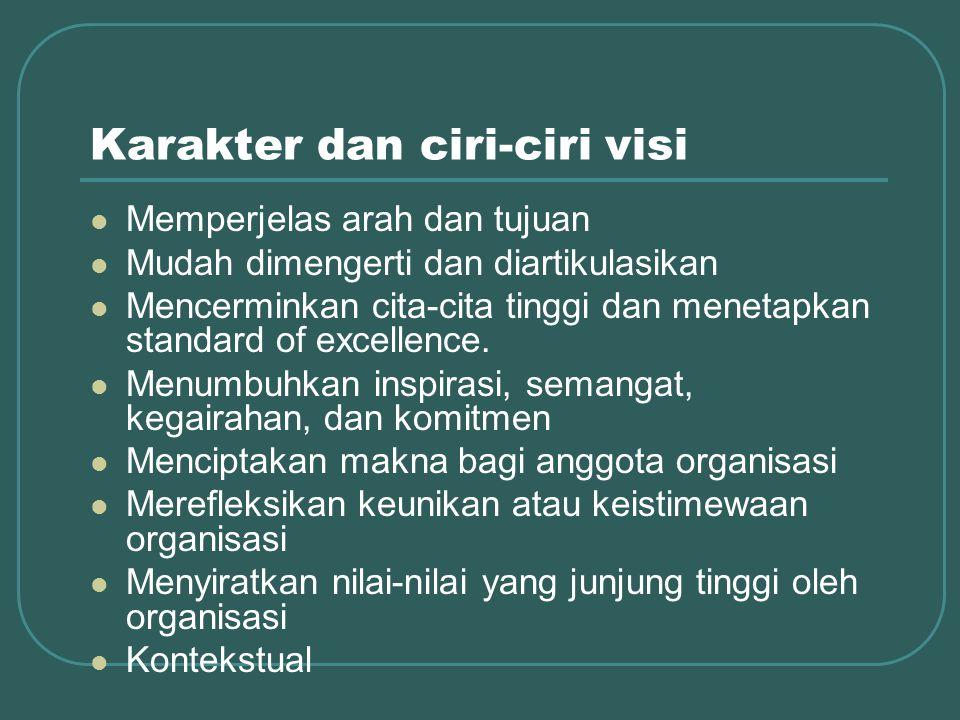 Karakter dan ciri-ciri visi Memperjelas arah dan tujuan Mudah dimengerti dan diartikulasikan Mencerminkan cita-cita tinggi dan menetapkan standard of excellence.