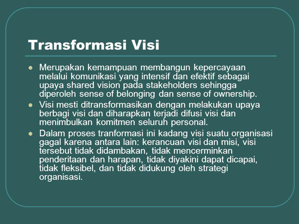 Transformasi Visi Merupakan kemampuan membangun kepercayaan melalui komunikasi yang intensif dan efektif sebagai upaya shared vision pada stakeholders sehingga diperoleh sense of belonging dan sense of ownership.