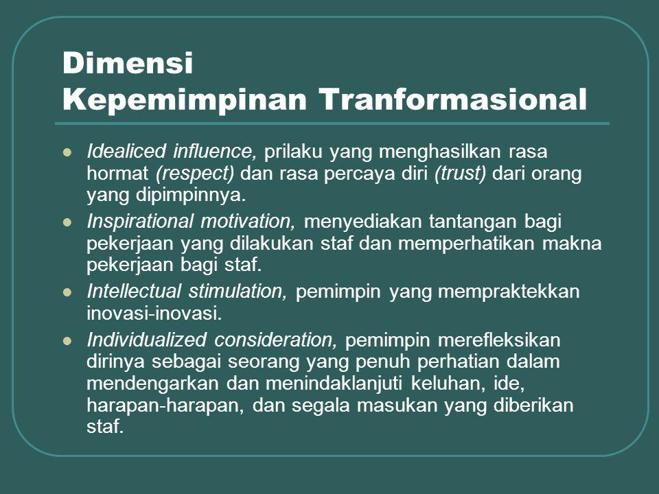 Dimensi Kepemimpinan Tranformasional Idealiced influence, prilaku yang menghasilkan rasa hormat (respect) dan rasa percaya diri (trust) dari orang yang dipimpinnya.