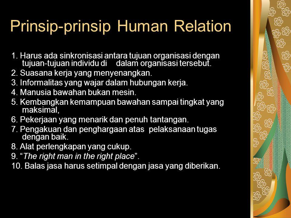 Prinsip-prinsip Human Relation 1. Harus ada sinkronisasi antara tujuan organisasi dengan tujuan-tujuan individu di dalam organisasi tersebut. 2. Suasa