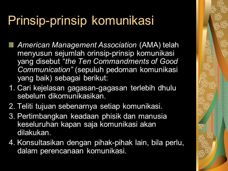 """Prinsip-prinsip komunikasi American Management Association (AMA) telah menyusun sejumlah orinsip-prinsip komunikasi yang disebut """"the Ten Commandments"""