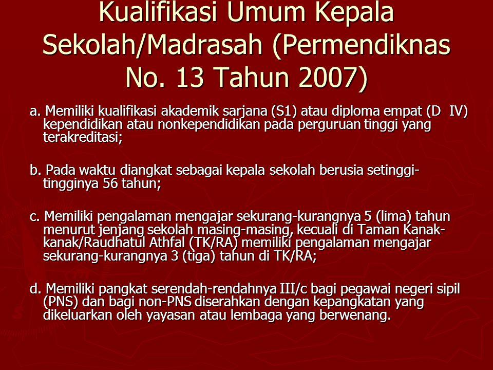 Kualifikasi Umum Kepala Sekolah/Madrasah (Permendiknas No. 13 Tahun 2007) a. Memiliki kualifikasi akademik sarjana (S1) atau diploma empat (D IV) kepe