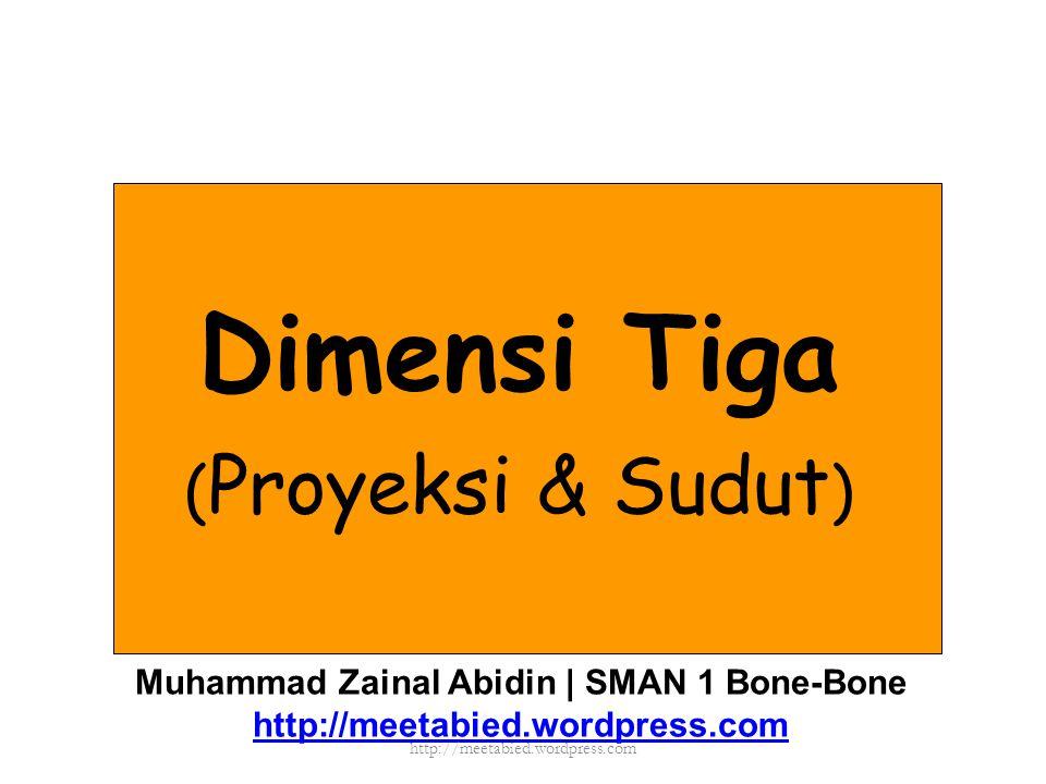 Dimensi Tiga ( Proyeksi & Sudut ) Muhammad Zainal Abidin | SMAN 1 Bone-Bone http://meetabied.wordpress.com