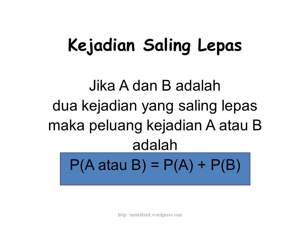Kejadian Saling Lepas Jika A dan B adalah dua kejadian yang saling lepas maka peluang kejadian A atau B adalah P(A atau B) = P(A) + P(B) http://meetabied.wordpress.com