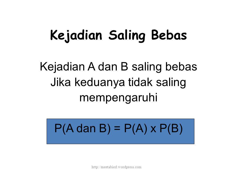 Kejadian Saling Bebas Kejadian A dan B saling bebas Jika keduanya tidak saling mempengaruhi P(A dan B) = P(A) x P(B) http://meetabied.wordpress.com