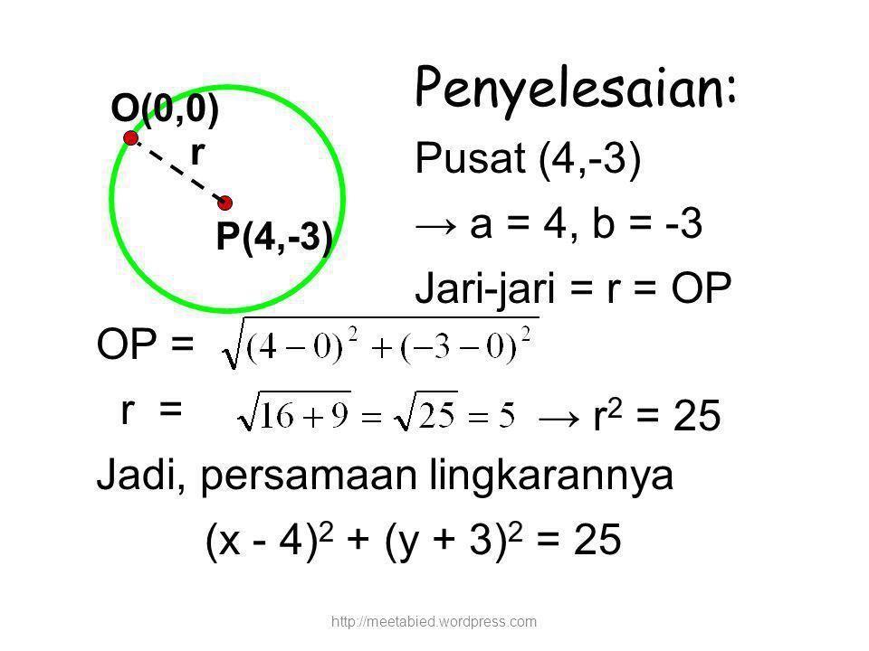 P(4,-3) O(0,0) r Penyelesaian: Pusat (4,-3) → a = 4, b = -3 Jari-jari = r = OP OP = r = Jadi, persamaan lingkarannya (x - 4) 2 + (y + 3) 2 = 25 → r 2 = 25 http://meetabied.wordpress.com
