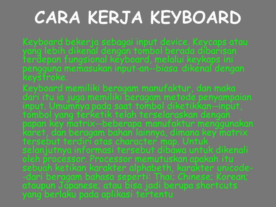 CARA KERJA KEYBOARD Keyboard bekerja sebagai input device.