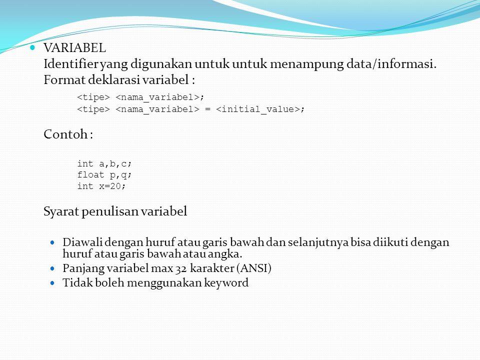 VARIABEL Identifier yang digunakan untuk untuk menampung data/informasi.