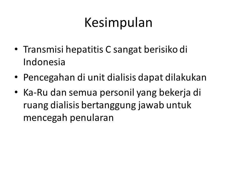 Kesimpulan Transmisi hepatitis C sangat berisiko di Indonesia Pencegahan di unit dialisis dapat dilakukan Ka-Ru dan semua personil yang bekerja di ruang dialisis bertanggung jawab untuk mencegah penularan