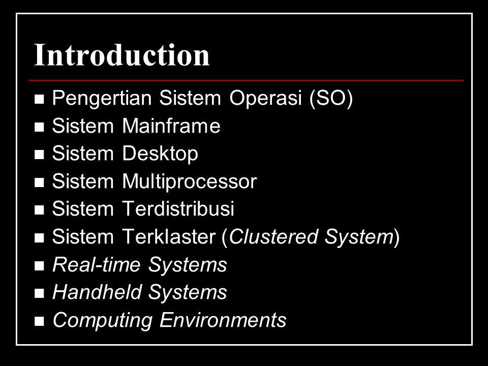 Introduction Pengertian Sistem Operasi (SO) Sistem Mainframe Sistem Desktop Sistem Multiprocessor Sistem Terdistribusi Sistem Terklaster (Clustered Sy