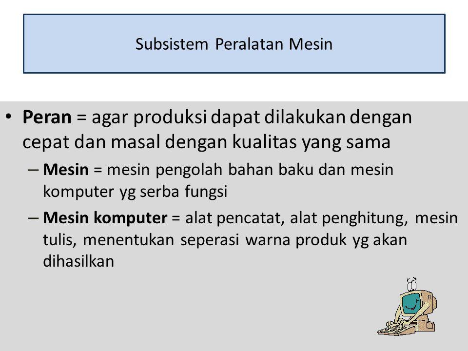 Subsistem Methoda Peran = merencanakan semua kegiatan yg akan dilakukan dalam proses produksi sesuai dengan yang diinginkan Methode ditentukan oleh manajemen perusahaan Kesuksesan manajemen perusahaan ditentukan 1.