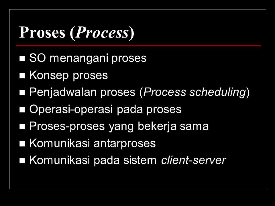 Peran SO meng-handle proses 1.SO harus melakukan penggiliran eksekusi proses untuk memaksimalkan utilisasi Processor dgn waktu respon yg cukup baik 2.SO hrs melakukan alokasi sumber daya bagi proses dengan menggunakan aturan tertentu.