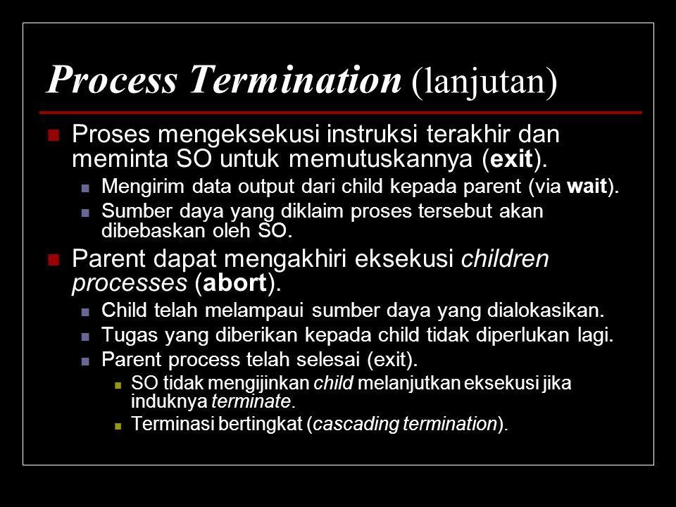 Process Termination (lanjutan) Proses mengeksekusi instruksi terakhir dan meminta SO untuk memutuskannya (exit). Mengirim data output dari child kepad