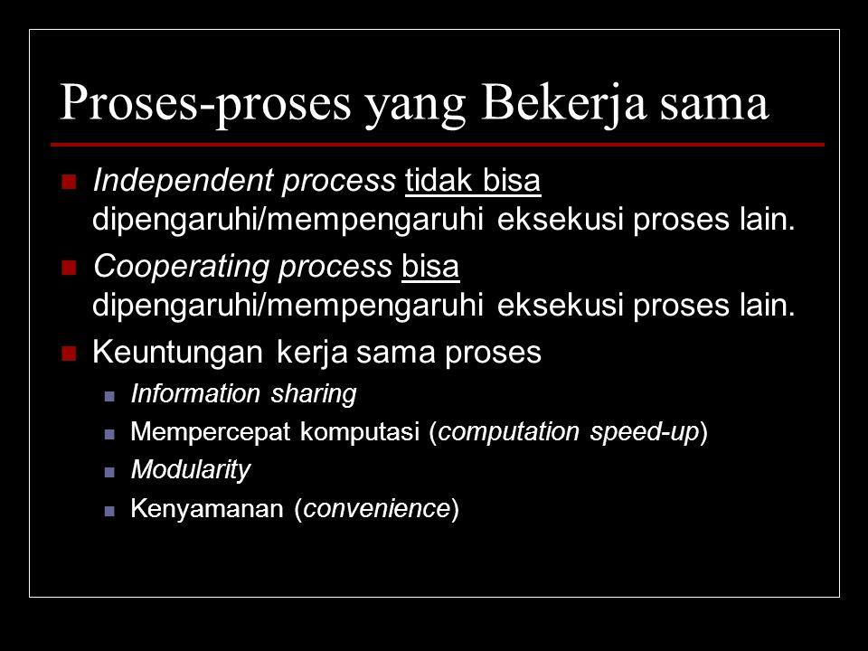 Proses-proses yang Bekerja sama Independent process tidak bisa dipengaruhi/mempengaruhi eksekusi proses lain. Cooperating process bisa dipengaruhi/mem