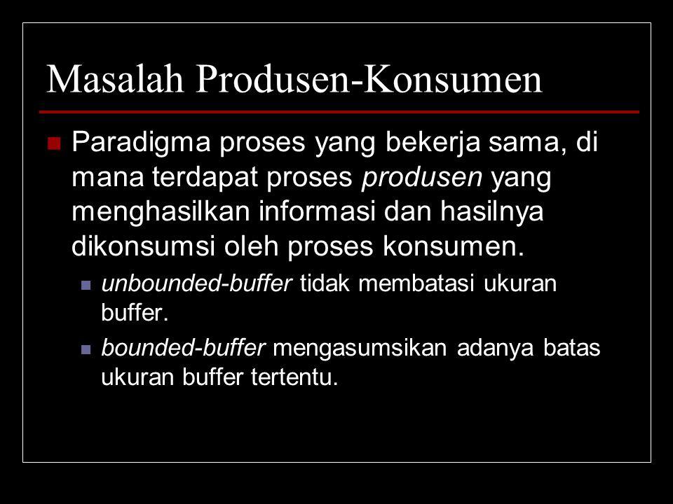 Masalah Produsen-Konsumen Paradigma proses yang bekerja sama, di mana terdapat proses produsen yang menghasilkan informasi dan hasilnya dikonsumsi ole