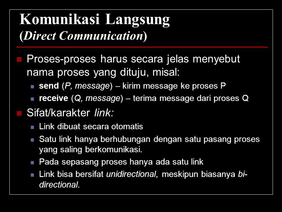 Komunikasi Langsung (Direct Communication) Proses-proses harus secara jelas menyebut nama proses yang dituju, misal: send (P, message) – kirim message