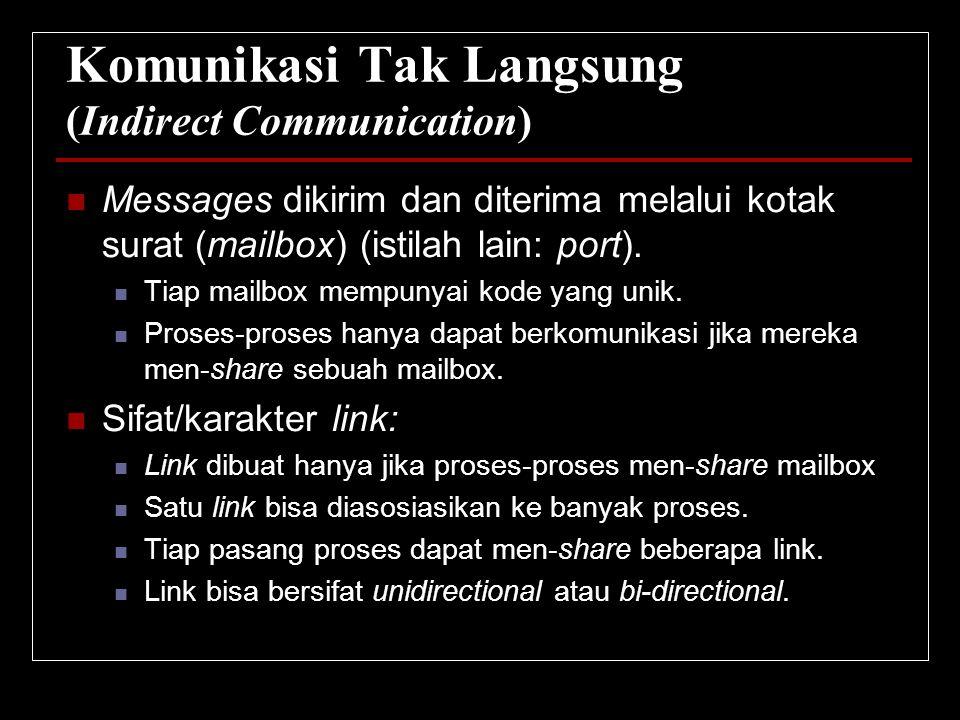 Komunikasi Tak Langsung (Indirect Communication) Messages dikirim dan diterima melalui kotak surat (mailbox) (istilah lain: port). Tiap mailbox mempun