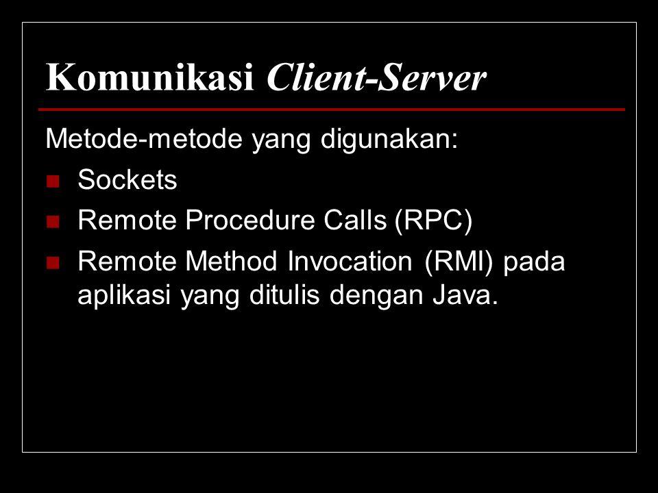 Komunikasi Client-Server Metode-metode yang digunakan: Sockets Remote Procedure Calls (RPC) Remote Method Invocation (RMI) pada aplikasi yang ditulis
