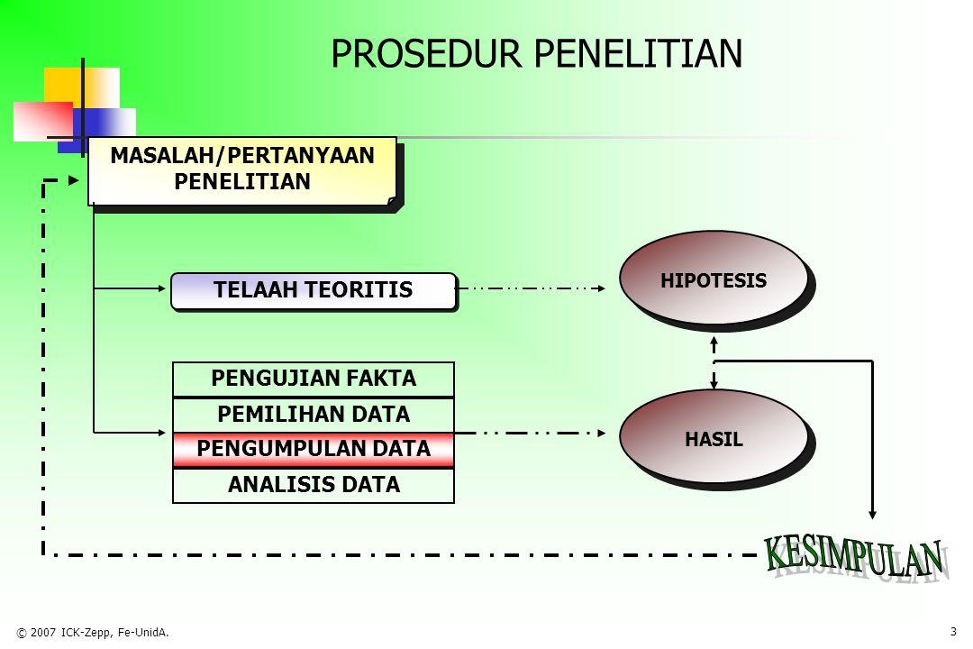 © 2007 ICK-Zepp, Fe-UnidA. 2 TUJUAN PEMBAHASAN  Menjelaskan jenis dan sumber data kaitannya dengan metode pengumpulan data  Menjelaskan tujuan, tipe