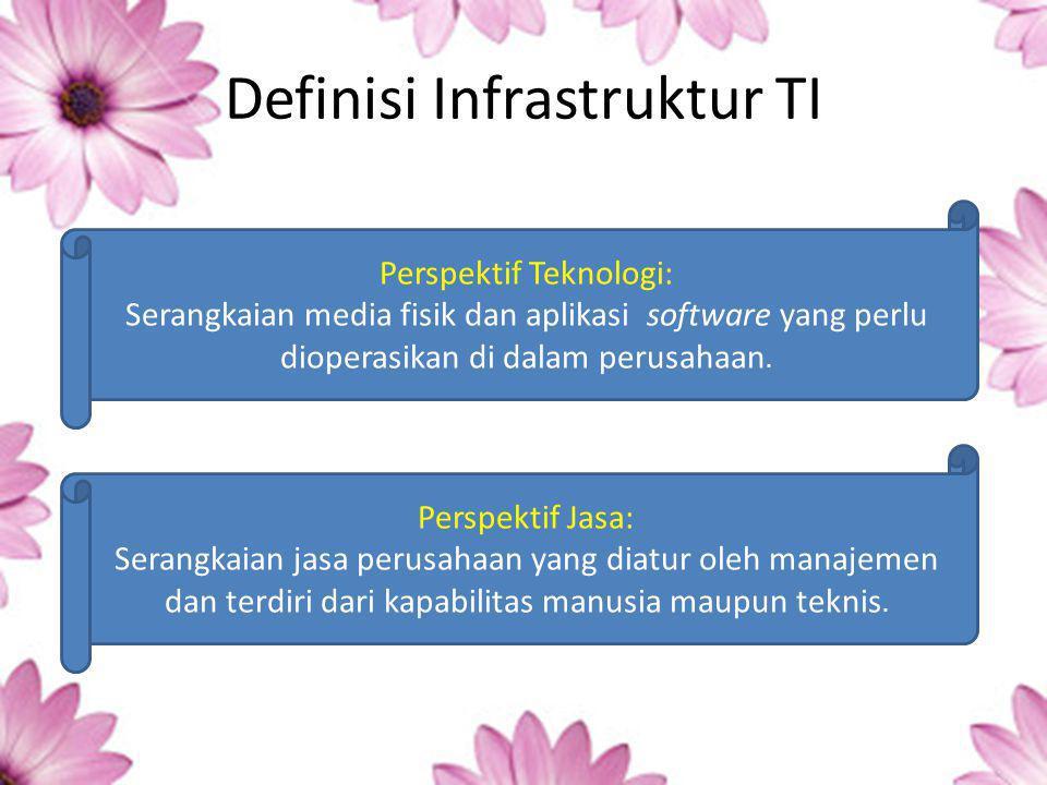 Definisi Infrastruktur TI Perspektif Teknologi: Serangkaian media fisik dan aplikasi software yang perlu dioperasikan di dalam perusahaan.