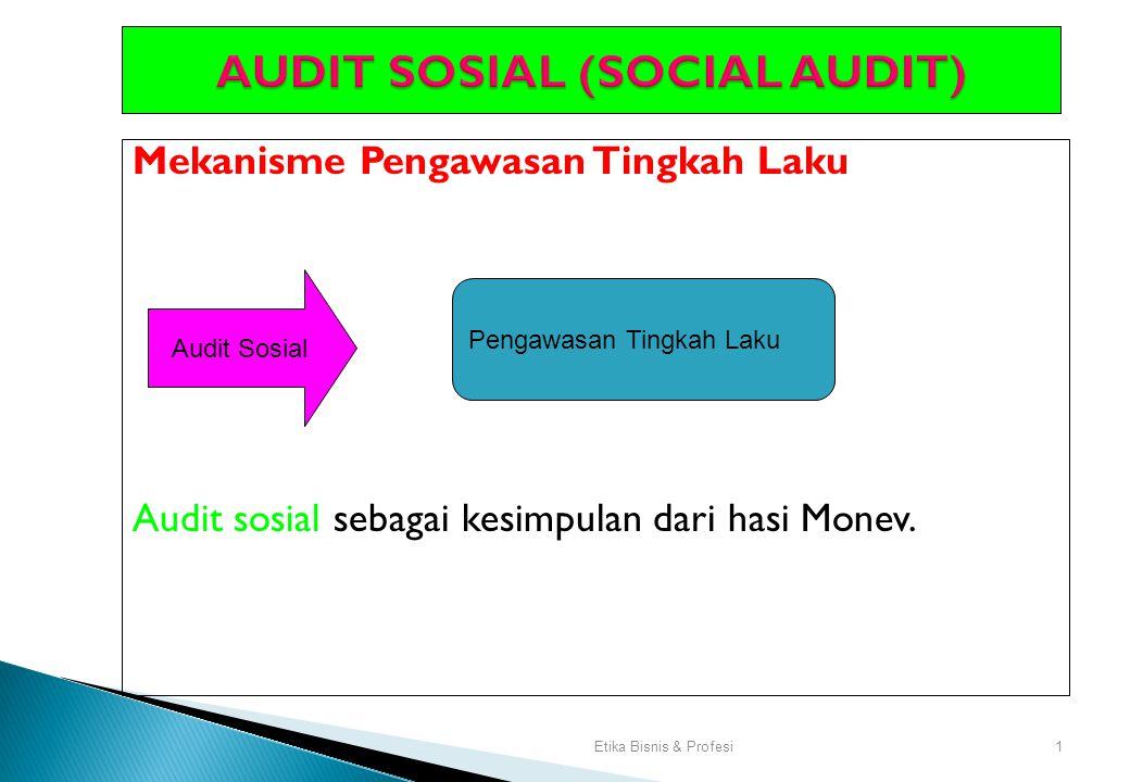 Etika Bisnis & Profesi1 AUDIT SOSIAL (SOCIAL AUDIT) Mekanisme Pengawasan Tingkah Laku Audit sosial sebagai kesimpulan dari hasi Monev.