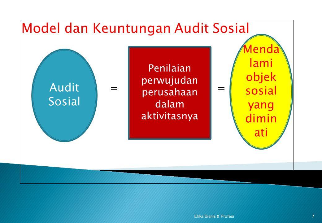 Model dan Keuntungan Audit Sosial = = 7Etika Bisnis & Profesi Audit Sosial Penilaian perwujudan perusahaan dalam aktivitasnya Menda lami objek sosial yang dimin ati