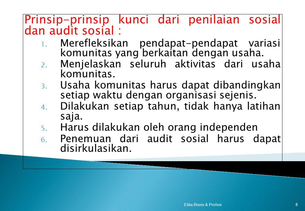 Model dan Keuntungan Audit Sosial = = 7Etika Bisnis & Profesi Audit Sosial Penilaian perwujudan perusahaan dalam aktivitasnya Menda lami objek sosial